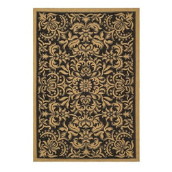 Safavieh - Indoor/ Outdoor Black/ Natural Rug (5'3 x 7'7) - This outdoor rug has a black background and displays stunning panel colors of natural. This power-loomed rug is resistant to mold, mildew, sun, water and other elements.