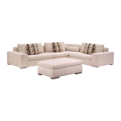 Kubix Contemporary Sectional Sofa By Lazar Industries - Fresh and innovative,the Kubix Contemporary Sectional Sofa adds an air of relaxed sophisticated to any room. Constructed from a kiln dried hardwood frame,its armrests and back offer extra padding. Create modern aesthetic appeal with this sectional sofa.