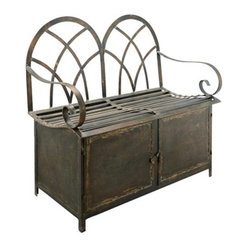 Candelabra Home Aged Brass Finished Storage Bench