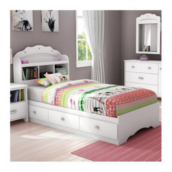 "South Shore - Tiara Twin Mates Bed - The many details of this elegant and glamorous collection in Pure White finish will appeal to younger and older girls alike Features include decorative cut-outs, a tiara-like headboard, mirror detailing, and unique chrome finish metal handles with mock jewels for a feminine look The absence of kick plates also gives this collection a light, airy feel so your little girl will definitely have sweet dreams! Features: -Twin mates bed. -Tiara collection. -Pure white finish. -Manufactured from recycled CARB compliant laminated particle panels. -Jewel like chrome metal handles. -This bed is an economical choice since it is designed to be used without a box spring. -Bed has three practical drawers. -Headboard has one wire hole for easy wire management and easy-access open compartments. -Tools are not included. -Two adults required for complete assembly. -Assembly required. -Manufacturer provides 5 years warranty on defects and workmanship. -Bed drawer interior dimensions : 22.5"" W x 17.75"" D. -Headboard interior dimensions : 8.5"" H x 12.75"" W x 8.25"" D."