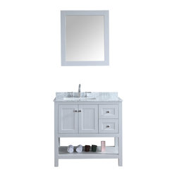 "Ari Kitchen and Bath - Emily 36"" Cottage Style Bathroom Vanity With Carrara Marble - Light Grey - Beautiful cottage style bathroom vanity by Ari Kitchen and Bath, a new brand manufacturing quality bathroom decor at affordable prices. The new 36"" Emily comes with a carrara marble top, rectangle CUPC basin, soft-closing drawers and doors, concealed drawer hinges, framed mirror and light grey solid wood bathroom cabinet. Absolutely no MDF or Particle board on any of our bathroom vanities. All of our bathroom vanities come assembled by the manufacturer, minimal assembly required."
