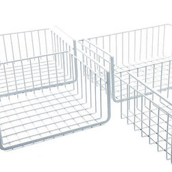 Modern Home - Modern Home Cabinet Wire Hanging Basket Shelves, Set of 4 - Re-organize your whole kitchen with our Modern Home set of wire hanging basket shelves. This versatile storage solution also works great in offices and hobby rooms to keep supplies organized and is ideal for linen closets to store hand towels and sheets. Perfect in laundry rooms for dryer sheets, cleaners and more. Our set includes 4 wire hanging baskets. Simply slide them onto your cabinets or pantry shelved to create a new storage shelf where you have space. Each set includes 4 sizes: