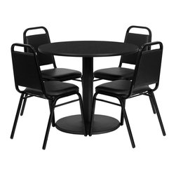 Flash Furniture - Flash Furniture 36 Inch Round Black Laminate Table Set with 4 Black Chairs - 36'' Round Black Laminate Table Set with 4 Black Trapezoidal Back Banquet Chairs [RSRB1001-GG]