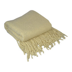 "Pur by Pur Cashmere - Signature Blend Throw Oyster 50""x65"" With 6"" Fringe - Loop mohair throw. 50% mohair. 50% nylon Dry clean only. Inner mongolia."