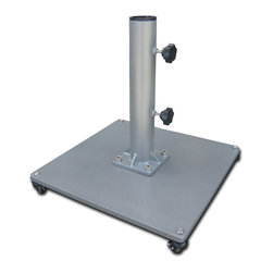 Greencorner - 100 lb Low-Profile Steel Umbrella Stand, Grey, Stand with Wheels - For use on flat surfaces, this freestanding base features heavy steel construction with an attractive powder-coated grey finish. Offers excellent resistance for heavier umbrellas or areas of high wind. This base is Commercial grade and includes stainless steel hardware to prevent unsightly rust.