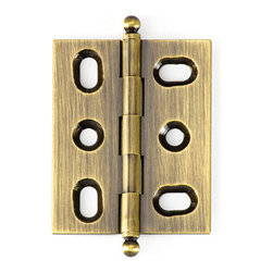 BH2A-AE-BALL solid brass inset cabinet hinge - Cliffside's BH2A hinge offers one of the cabinetmaking industry's tightest reveals. Designed for 3/4-inch inset doors, these solid brass hinges are extruded, rather than stamped, for extra durability. This 2-inch hinge features Cliffside's golden Antique English finish, one of 15 available colors, and the ball-tip finial.