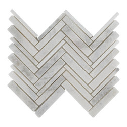 Tilesbay.com - 10 Pieces of Polished White Cloud Harringbone Interlocking Marble Tile - White Cloud Hearringbone Interlocking 12x12 (5/8*5; 1*5;) Polished Marble in a mesh-backed sheets is classic white and gray tiles to add class to any room. It is recommended for floors and wall projects in residential properties and is for interior use only.