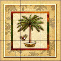 The Tile Mural Store (USA) - Tile Mural - Coconut Palm 2   - Kitchen Backsplash Ideas - This beautiful artwork by Dan Morris has been digitally reproduced for tiles and depicts a framed palm tree.  With our enormous selection of tile murals of tropical plants and flowers you can bring your kitchen backsplash tile project to life. A decorative tile mural with plants and flowers is an impressive kitchen backsplash idea and decorative flower tiles also work great in the bathroom. Add splashes of color and life to your tile project with images of flowers on tiles and tiles with pictures of plants.