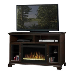 Dimplex - Dimplex Brookings Electric Fireplace w/ Glass Ember in Espresso - Dimplex - Electric Fireplaces - GDS25E1055G - This transitional style media console features interchangeable door panels that allow a range of looks and function. Glass and wood inserts provide a choice of style while the speaker fabric insert allows the option of hiding speakers inside the unit for a clean aesthetic. Finishing touches include the raised base and leg detail and cord management system.Features: