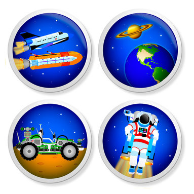 New Speed Limit - Set of 4 Dresser Drawer Knobs/Pulls Hardware For Kids - 3, 2, 1...Liftoff - 3, 2, 1...Liftoff! Space Shuttle, Space Rover, Astronaut, and Planets Moms or Dads, you can give your child's old dresser a quick inexpensive DIY makeover. Our custom-made ceramic knob sets screw on easily to most flat faced drawer fronts in minutes! Your kids will love one of our many cool, detailed, and fun designs. You will love the traditional, easy to grab, clean, and round shape with no sharp edges. Perfect! Each 4 Pack contains 4 1 1/2 inch bright ceramic knobs with a 1 1/4 inch long Phillips head screw. Please check out all of our different designs.