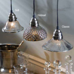 Mercury Glass Pendant Lamps - Romantic vintage-inspired pendants crafted from mercury glass in three distinct styles.  Each pendant has a 6' cord and plug end.  60 watt max.