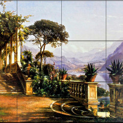 The Tile Mural Store (USA) - Tile Mural - Lodge On Lake Como - Kitchen Backsplash Ideas - This beautiful artwork by Carl Frederic Aagaard has been digitally reproduced for tiles and depicts the Lodge on Lake Como.Lush plants adorning a warmly colored terrace provide a striking contrast to rugged mountains and cool blue waters in Carl Frederik Aagaard's Lodge on Lake Como. Originally from Denmark, Aagaard (1833 to 1895) first studied art with his brother, a glass engraver. He later studied with many famous artists, including landscape oil painter Peter Kristian Skoovgaard. One of Copenhagen's most influential Golden Age artists, Aagaard was commissioned to paint the chapel of King Christian IV.   Our kitchen tile murals are perfect to use as part of your kitchen backsplash tile project. Add interest to your kitchen backsplash wall with a decorative tile mural. If you are remodeling your kitchen or building a new home, install a tile mural above your stove top or install a tile mural above your sink. Adding a decorative tile mural to your backsplash is a wonderful idea and will liven up the space behind your cooktop or sink.