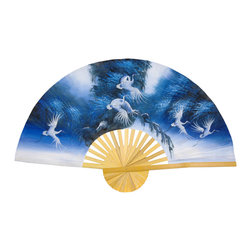 "Oriental Furniture - Exhultation in Blue Fan - 60"" - This handcrafted Thai silk wall fan was constructed using split bamboo and sateen fabric with a hand-painted traditional Thai art design. Exaltation in Blue depicts auspicious white cranes soaring upwards through soft blue trees. This authentic Oriental wall fan will bring a dash of the Far East to your home or office."