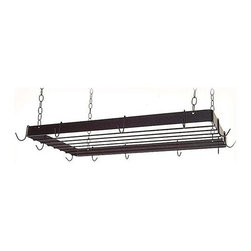 Grace Collection - Rectangular Butcher Pot Rack w Bar Grid (Burn - Finish: Burnished CopperHang this multi-functional pot rack from your kitchen ceiling and you will add usefulness, versatility and style to your kitchen.  Rectangular pot rack features 12 hooks for storing your kitchen ware and a grid for holding books, extra kitchen ware, or decorative items.  A great addition to any cook's kitchen ensemble. * Hanging. Made from wrought iron. Rectangular shape. 30 in. L x 15 in. W x 2.5 in. H (22 lbs.). Includes four 10 gauge chains, ceiling mounting hardware and twelve hooks. 0.18 in. cold rolled steel hooks. 2 x 0.18 in. flat stock sides. 0.25 in. solid rod grid. Heavy weight high grade steel support straps