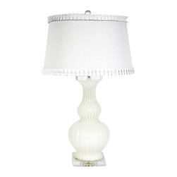 Belle & June - Calabaza Glass Lamp-White - The Calabaza lamp features a ribbed white opaque base and a solid white shade with sweet ruffle trim. This pretty lamp can easily work into any girls bedroom, nursery or guest bedroom.