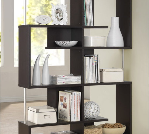 Baxton Studio - Kaleb Dark Brown/ Espresso Modern Storage Shelf - A simple,contemporary form makes the perfect canvas for displaying your photos,books,and other treasures. This fun but functional modern shelving unit is made with dark brown / espresso faux wood grain paper veneer over a frame of engineered wood.