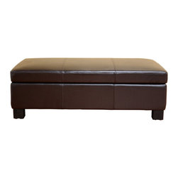 """Wholesale Interiors - Gallo Dark Brown Leather Storage Ottoman - Large storage and relaxation needs call for large and multifunctional storage ottoman. The sleek and stylish espresso brown bonded leather is pulled taut over high-density foam cushioning and wood framing. When the lid is lifted, you will reveal an efficiently-concealed and generously-sized empty space for storage. This lid is secured to the ottomans base with 3 antiqued brass standard hinges and supported while ajar with two silver-tone safety hinges. Please be aware that, because of the weight of lid as a result of its size, the ottoman is not child safe. Ottoman measures 47""""W x 27""""D x 15"""" H. Inner storage: 43 """"W x 24""""D x 6'' H."""