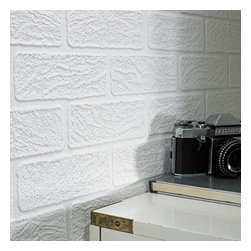 Graham & Brown - Brick Wallpaper - This Brick wallpaper design is sure to make an impression on the walls of your home because of its strong visual presence and textured nature. The white piece features a brick effect, suited to a whole host of different rooms and design styles. The design is also easily paintable, meaning adding a touch of colour to the piece is an easy process and can help to give it an added dimension.