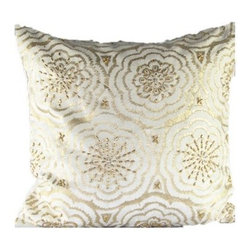 Design Accents Anai Floral Velvet Pillow - Gold - You know your style is golden with the luxurious Design Accents Anai Floral Velvet Pillow - Gold in your home. Made of high-quality velvet, this pillow is exquisitely hand printed and beaded. The ivory background and gold accents give an elegant sparkle to any room. Go ahead, treat yourself.