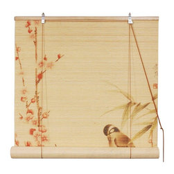 Oriental Furniture - Love Birds Bamboo Blinds - (48 in. x 72 in.) - These elegant, traditional bamboo matchstick blinds feature a charming scene of two love birds amidst cherry blossoms. Easy to set up and install, this lovely blind makes a wonderful accent in any home.