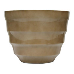 Alpine Fountains - Small 12 in. Rippled Planter in Cream - Made of Plastic. 1 Year Limited Warranty. Assembly Required. Overall Dimensions: 12 in. L x 12 in. W x 9 in. H (1.87 lbs)These rippled bowl planters are perfect for patios and decks.  Available in a variety of sizes and colors they can meet any need, or taste and are very durable.