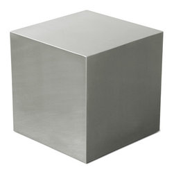 Gus Modern - Steel Cube - Steel Cube by Gus Modern. The Gus Modern Steel cube goes as far as your creativity allows. Use it as unique extra seating, a footstool, an end table, a snack table, or just as a conversation-sparking accent piece. Also, serves as a unique stage for photos, plants, or sculptures. Pair several steel cubes together to create a unique coffee table.