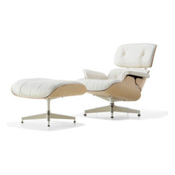 Eames® White Lounge Chair with Ottoman - The Eames Lounge Chair and Ottoman are modern classics built to stand the test of time. Cushions are individually upholstered and replaceable; back cushions are interchangeable and shock mounts are resilient natural rubber. Shells are made of a durable seven-ply wood veneer; the base and back braces are die-cast aluminum. All pieces are hand assembled, and are produced from wood harvested exclusively from sustainably managed forests.