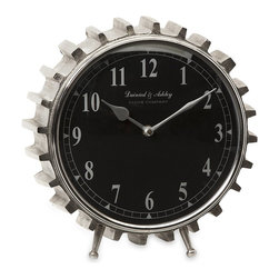 iMax - iMax Carlton Table Clock X-24991 - Gearheads everywhere will love this aluminum table clock. With its black face and clean lines, the gear tooth framing makes this clock perfect for an industrial or urban loft decor.