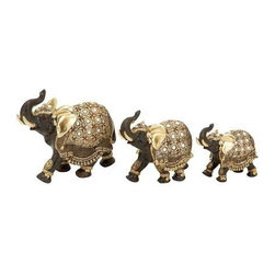 "Benzara - Polystone Elephant with Intricate Detailing - Set of 3 - Polystone Elephant with Intricate Detailing - Set of 3. Elephant is a symbol of royalty and strength. It comes with a following dimensions 8""W x 3""D 7""H. 6""W x 3""D x 6""H. 5""W x 2""D x 5""H."