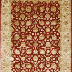 Jaipur Rugs - Hand-Knotted Oriental Pattern Wool/ Silk Red/Ivory Area Rug ( 10x14 ) - Few artisans possess the expertise and skill necessary to create pieces for the Aurora collection. Every fiber of wool is scrutinized, sorted, carded, and spun to ensure the absolute finest and softest thread. Lush silk is added to create an undeniably beautiful and painstakingly precise work of hand-crafted art. The softness, brilliance and exquisite refinement in every aspect of the Aurora collection cannot be overstated: with sixty percent silk content and nearly two hundred knots per square inch, each rug shimmers like a finely cut diamond. Months of meticulous work touched by the hands of hundreds of skilled artisans, culminate in the finest floor coverings that Jaipur offers.