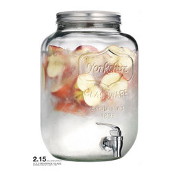 """Home Essentials - Yorkshire Glass Mason Jar Beverage Dispenser - Deeply appreciating the past, celebrate the simplicity of bygone times with our clear glass mason jar drink dispenser. The durable mason jug is complemented by the traditional screw top metal lid and easy pour spout. Showcasing 2 gallons of your iced tea, lemonade, punch, sangria or cocktails, this classic mason jar is the established way of serving at your next outdoor or indoor party gathering.  * Capacity: 2 Gallons  * Dimensions: 12.5"""" Tall, 7.5"""" Wide   * For a smaller version see item # HEB7657   * Easy Pour Spout"""