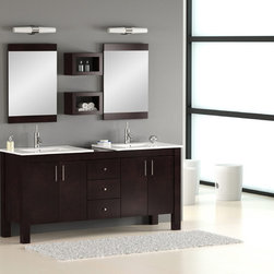 "Double Sink Bathroom Vanity - The Vienna 72"" bathroom vanity has a versatile style that fits into both traditional and contemporary bathroom settings. The beauty of this vanity lies in its simplicity, with straight lines and right angles. It is ideal for homeowners who want a clean and understated look for their bathroom remodeling."
