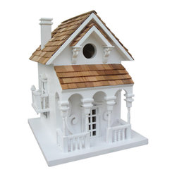 Home Bazaar - Honeymoon Cottage With Bracket - The perfect cottage for a couple of wrens, finches, chickadees or titmice, this small yet sturdy birdhouse is built to last — and to charm. Hang it in your backyard and delight in the songs and soaring of your feathered tenants for many seasons to come.