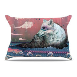 """Kess InHouse - Mat Miller """"Lone Wolf"""" Pillow Case, Standard (30"""" x 20"""") - This pillowcase, is just as bunny soft as the Kess InHouse duvet. It's made of microfiber velvety fleece. This machine washable fleece pillow case is the perfect accent to any duvet. Be your Bed's Curator."""