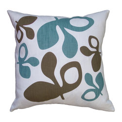 Balanced Design - Hand Printed Linen Pillow - Pods, Blue/Chocolate, 16 x 16 - The graphic pattern on this pillow has been hand-printed in Rhode Island and sewn in Massachusetts for a truly made-in-the-USA product. The bold pattern would look great paired with a collection of pillows on a bed or sofa. And you'll feel great about investing in an ecofriendly design since the insert is made of fiber from recycled plastic bottles!