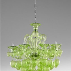 Bella Vetro Chandelier by Cyan Design - The Bella Vetro Chandelier features hand-blown glass finished in a vibrant green hue, perfect for adding drama to any space.