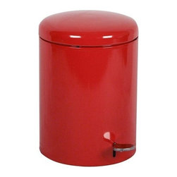 Witt Industries - Witt Industries 4-Gallon Indoor Step on Receptacle With Galvanized Liner, Red - Round step-on receptacle featuring safe, hands-free operation. Provides sanitary disposal for healthcare facilities or any place dealing with bio-hazardous material. Comes standard with a glavanized liner.