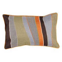 "Surya - Surya P-0181 Inverted Stripe Pillow, 22"" x 22"", Down Feather Filler - Surround your space with scintillating stripes with this stunning pillow from the Jill Rosenwald collection. Featuring amazingly ambiguous stripes in cool earth tones of blue, orange, olive green, black and grey, this piece offers a natural yet vibrant look from room to room. This pillow contains a zipper closure and provides a reliable and affordable solution to updating your home's decor."