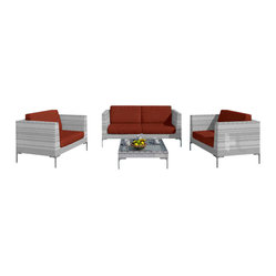 "Harmonia Living - Ibis 4 Piece Modern Outdoor Sofa Set, Henna Cushions - Say ""goodbye!"" to high maintenance. This patio sofa set keeps things simple, offering you a designer look without all the upkeep. Each piece is made of high-density, polyethylene wicker that weathers the elements beautifully."