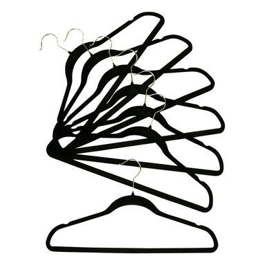 Proman Products - Proman Products Velvet Plastic Huggable Suit Hanger Chrome Hook in Black - Velvet plastic huggable suit hanger, chrome hook in black. 100 PCS/Box. Price per case