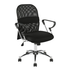 Eurostyle - Marlin Mesh Office Chair-Black/Chrome - This thoughtfully designed office chair wants you to be constantly comfortable while you work. So much so, there's an adjustable sleeve on the backrest, which allows you to customize your lumbar support.