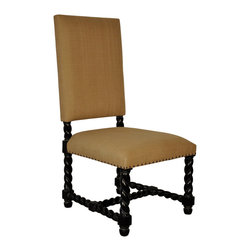 """Noir - Noir Charles Hand Rubbed Black Side Chair - Featuring natural, simple and classic designs, Noir products supply a timeless complement to a variety of interiors. The Charles side chair adds a bit of whimsy to sitting areas and dining tables. Twisted spindles along the mahogany legs and arms lend depth and dimension to its classic shape, while a hand-rubbed black finish creates a rich appeal. Small nailhead trim around its seat offers the finishing touch. Finish will feature distressed characteristics. Side chair measures 22.5""""W x 26""""D x 44.5""""H."""