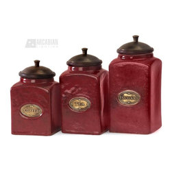 iMax - iMax Red Ceramic Canisters X-3-8625 - The vivid red finish of this canister set gives it a bright and cheery look. Each canister has a wood lid and features its own content label. Food safe.