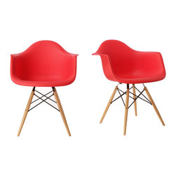 Ariel - Set of 2 Eames Style Molded Red Plastic Dining Armchair W/ Wood Eiffel Legs - A true modern classic design, this classic dining armchair with wood Eiffel legs remains popular today in cafes, home offices, and dining areas. Sporting a clean, simple, retro, yet modern design sculpted to fit the body, this gorgeous armchair is the perfect addition to the home or office. Also available in white, green, or light blue.