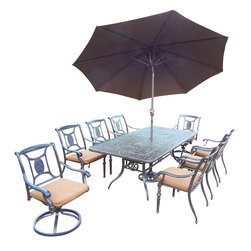Oakland Living - 11-Pc Outdoor Dining Set - Includes one rectangular dining table, two swivel rocking, six fully welded stackable dining chairs with sunbrella cushions, 9 ft. tilt crank umbrella with stand and metal hardware. Handcast. Artistic pattern work is crisp and stylish. Fade, chip and crack resistant. Umbrella hole table top. Hardened powder coat. Warranty: One year limited. Made from rust free aluminum. Aged color. Minimal assembly required. Stackable chair: 26.75 in. W x 22 in. D x 36 in. H (20 lbs.). Swivel rocking chair: 26.75 in. W x 22 in. D x 36.5 in. H (26.5 lbs.). Table: 84 in. L x 42 in. W x 29.5 in. H (97 lbs.). Overall weight: 385 lbs.This dining set is the prefect piece for any outdoor dinner setting. Just the right size for any backyard or patio. The Oakland Victoria Collection combines practical designs and modern style giving you a rich addition to any outdoor setting.