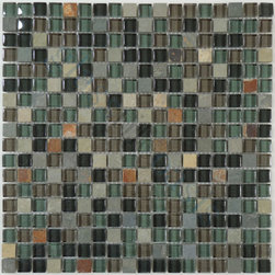 "Euro Glass - Forest Floor  5/8"" x 5/8"" Green Backsplash Glossy & Unpolished Glass and Slate - Sheet size:  11 3/4"" x 11 3/4""     Tile Size:  5/8"" x 5/8""     Tiles per sheet:  324     Tile thickness:  1/4""      Grout Joints:  1/8""     Sheet Mount:  Mesh Backed      Sold by the sheet      -  Customize your hardest working surfaces with our Slate series. Choose from many patterns and an array of colors in honed and cleft finishes."