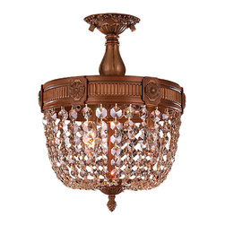 "Worldwide Lighting - Winchester 3 Light French Gold & Golden Teak Crystal 12"" Round Semi-Flush Light - This stunning 3-light Flush-mount only uses the best quality material and workmanship ensuring a beautiful heirloom quality piece. Featuring a cast aluminum base in french gold finish and all over golden teak (champagne color) crystal embellishments made of finely cut premium grade 30% full lead crystal, this flush mount will give any room sparkle and glamour. Worldwide Lighting Corporation is a privately owned manufacturer of high quality crystal chandeliers, pendants, surface mounts, sconces and custom decorative lighting products for the residential, hospitality and commercial building markets. Our high quality crystals meet all standards of perfection, possessing lead oxide of 30% that is above industry standards and can be seen in prestigious homes, hotels, restaurants, casinos, and churches across the country. Our mission is to enhance your lighting needs with exceptional quality fixtures at a reasonable price."
