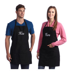 None - Monogrammed Black His & Hers Apron Set - Look stylish and sophisticated in your own personalized apron. The white monogramming on these 'His and Hers' aprons are an elegant contrast on the black apron fabric.