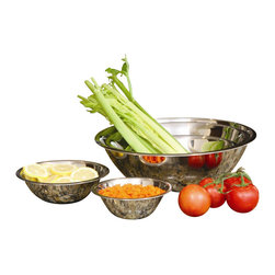 """PRIME PACIFIC - Set of 5 Stainless Steel Mixing Bowls - This beautiful set of 5 mixing bowls is long lasting and dishwasher safe so they are supremely easy to clean. Included in this set are a .75 quart mixing bowl with a 6.5"""" diameter, a 1 quart mixing bowl with a 7.5"""" diameter, a 2.25 quart mixing bowl with a 9.5"""" diameter, a 4.25 quart mixing bowl with a 12"""" diameter and a 6 quart mixing bowl with a 14"""" diameter."""
