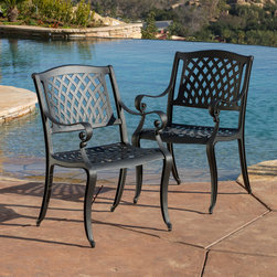 Christopher Knight Home - Christopher Knight Home Hallandale Black Sand Cast Aluminum Outdoor Chairs (Set - Give your outdoor decor an elegant,weather-resistant upgrade with these decorative and functional Hallandale dining chairs. Finished in black sand,these cast-aluminum chairs feature scrolled arms and a decorative mesh-patterned seat and backrest.